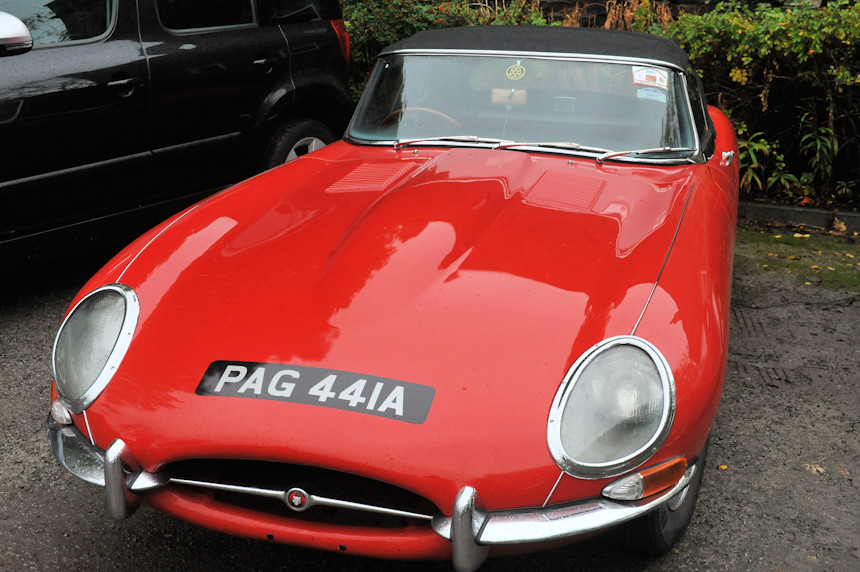 A red Jaguar E-Type