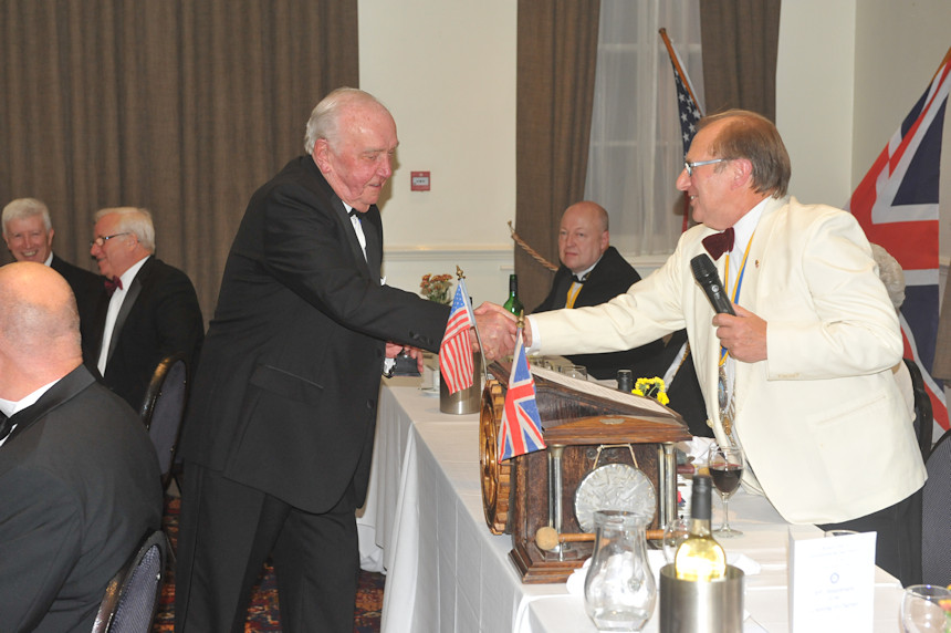 Photo of Edwin Crowther receiving the Club Service Cup