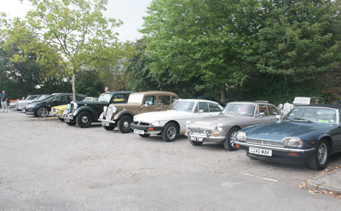 Several cars lined up for the start of the charity car rally 2019